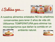Sabías que?... A nuestros alimentos enlatados no les agregamos conservantes. Products, Food Items, Canning, Microorganisms, Preserve, Food