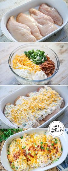 BEST CHICKEN EVER! This easy chicken bake is on our regular dinner rotation. The Million Dollar Chicken combines tender chicken breast, cream cheese, cheddar cheese, bacon, and green onions for a rich Easy Baked Chicken, Easy Chicken Dishes, Creamy Chicken Bake, Chicken Breats Recipes, Easy Healthy Chicken Recipes, Chicken Recipes For Dinner, Keto Chicken, Healthy Chicken Dinner, Dinner Healthy