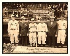 1934 World Series - Navin Field - Detroit, MI  (L-R) Dizzy Dean, Christy Walsh, Frankie Frisch, Mickey Cochrane, Babe Ruth & Schoolboy Rowe