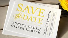 yellow letterpress wedding invitation