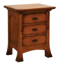 Amish Verona Nightstand with Three Drawers and Pull Out Tray Bedroom storage in solid wood, the Verona stands out from other nightstands. Three drawers plus a pull out tray, and options to add a touch nightlight, power station and more. #nightstands #Amishbedroomfurniture