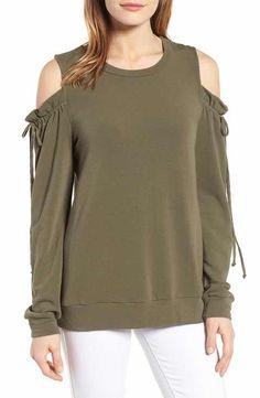 Pleione Paperbag Sleeve Cold Shoulder Pullover