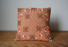 Vintage Small Square Decorative Pillow. Earthy Tones Orange Brown Fox Retro Pattern Cushion. Vintage Bedding Home Decor. Children Pillow . by catbedoven on Etsy