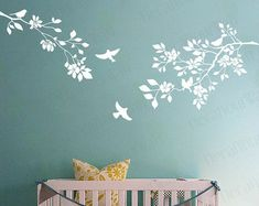 Tree Wall Decal Bamboo Large Tree Sticker Bird by decalyourwall