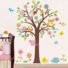 wall decals trees and owls | Home, Furniture & DIY > DIY Materials > Wallpaper & Wall Coverings