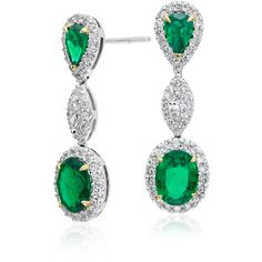 Blue Nile Emerald and Diamond Halo Triple Drop Earrings (212 175 UAH) ❤ liked on Polyvore featuring jewelry, earrings, emerald jewelry, emerald jewellery, emerald drop earrings, blue nile and 18 karat gold jewelry