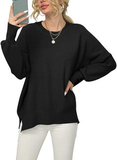 ANRABESS Women Crewneck Batwing Sleeve Oversized Side Slit Ribbed Knit Pullover Sweater Top Black Sweaters, Sweaters For Women, Batwing Sleeve, Long Sleeve, Loose Sweater, Pullover Sweaters, Jumper, Crewneck Sweater, Sleeves