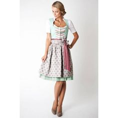 Dirndl Theresa midi, türkis/grau - Ludwig & Therese Trachtenmode
