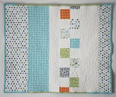 Modern quilt for baby boy - Friendly Creatures II. $150.00, via Etsy.