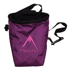 Climbing-Psychi Chalk Bag for Rock Climbing Bouldering with Rear Zip Storage and Waist Belt (Purple) ** You can find more details by visiting the image link.