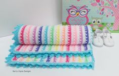 Ice cream blanket Crochet pattern by Kerry Jayne Designs Crochet Cushions, Crochet Pillow, Crochet Blanket Patterns, Baby Blanket Crochet, Crochet Baby, Crochet Blankets, Baby Blankets, Baby Knitting, Crochet Borders