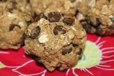 Carob Chip Protein Cookie Recipe  1 tbsp almond butter  1/2 cup oats  1 scoop of protein powder (I used Sun Warrior vanilla protein)  1 egg white  2 packets of stevia  1/4 cup carob chips  Directions  Mix all ingredients together in a bowl with your hands, form into balls, and place on a cookie sheet with parchment paper. Bake at 350 degrees for about 6-8 minutes.