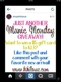 Head over to Instagram to see all the amazing new arrivals at @shopkikilarue & for your chance to win a KLR gift card!