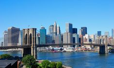Photo about New York City skyline with Brooklyn Bridge on a sunny day. Image of travel, tourism, skyline - 3258621 Week End New York, New York Pas Cher, Paris Orly, Brooklyn Bridge New York, Manhattan Bridge, Manhattan Skyline, New York City Guide, Miami, New York Hotels