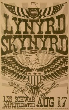 Lynyrd Skynyrd (Aug 17.2006 at Les Schwab Amphitheater, Bend, OR) classic rock concert poster