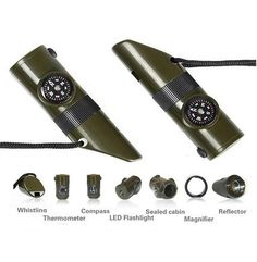 7 in 1 Survival Whistle.  A survival whistle is perfect for camping, hiking, emergency kits or for everyday use.  This survival whistle has a whistle, LED flashlight, magnifying glass, signaling mirror, compass, and a thermometer and it is set upon a sturdy nylon cord. It can be worn around your neck, tied onto your bag or it can fit into your pocket #survival #camping #tool  www.montanaoutdoorgear.com
