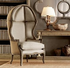Dream chair for the dream home. Versailles Domed Burlap-Backed Chair from Restoration Hardware.
