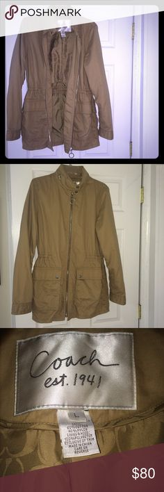 """Coach Women's """"Utility"""" Jacket Coach Women's Utility Jacket in Tan size Large. Rarely worn. In perfect condition. Shell or outside of jacket made from 60% cotton 40% nylon. Lining is 100% polyester. This jacket is very flattering with a feminine fit & very comfortable. Adjustable waist with pull strings inside. Great for the Fall. Coach Jackets & Coats Utility Jackets"""