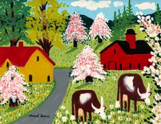 The Idiosyncratic Paintings of Maud Lewis, a Beloved Canadian Folk Artist Colorful Paintings, Paintings For Sale, Maudie Lewis, Cat With Blue Eyes, Canadian Artists, Autumn Trees, Art World, Fine Art Paper, Folk Art