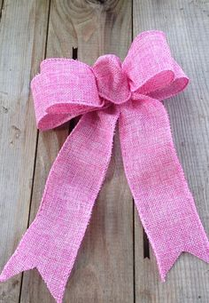 Pink Burlap look Bow rustic for gift packages by ilPiccoloGiardino