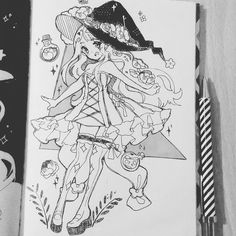 1. #inktober Seasonal Witch (SPRING). Finally, the inktober started! This year I will give my best! I decided to use the list of witches #inktober2017 #witches