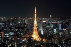 六本木ヒルズから見た東京タワー夜景