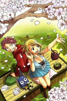 Fairy Tail -- Natsu, Lucy, and Happy... I wish I could join them for tea!
