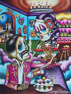 Gracias mi amor by dave sanchez canvas giclee tattoo art print sugar skull - purple leopard boutique Stretched Canvas Prints, Canvas Art Prints, Fine Art Prints, Mexican Art Tattoos, Indian Tattoos, Mexican Paintings, Skeleton Art, Mexican Skeleton, Sugar Skull Art