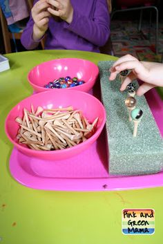 Activities with Marbles and Golf Tees from Montessori at Home! - Activities with Marbles and Golf Tees from Montessori at Home! Nice Montessori idea- could also set up a tray where she hammers the golf tees into the foam Motor Skills Activities, Montessori Activities, Gross Motor Skills, Preschool Activities, Physical Activities, Dementia Activities, Therapy Activities, Montessori Practical Life, Preschool At Home