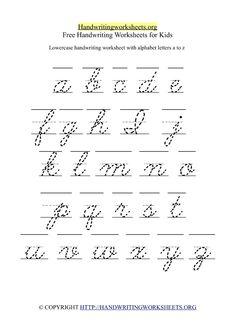 Lowercase Cursive Letters A-Z Handwriting Worksheet in Printable Format for Kindergarten Kids. 1 Worksheet with 26 Lowercase Cursive Alphabets. Free Cursive Handwriting Worksheets with Letters A-Z ( Small Lowercase ) Cursive Alphabet Printable, Cursive Letters Worksheet, Printable Handwriting Worksheets, Cursive Words, Alphabet Tracing Worksheets, Letter Tracing, Cursive Small Letters, Scripts