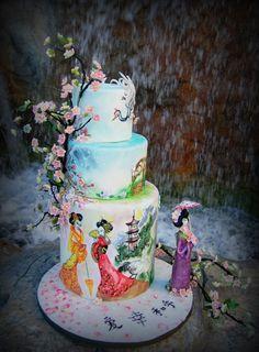 Geisha Inspired Wedding Cake