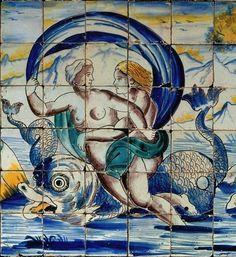 Painel de azulejos de composição figurativa (Cortejo de Neptuno e Anfitrite)…
