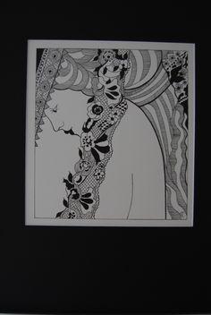 Art Nouveaux Girl (black fine liner) by Leigh Ellen Williams - leighwatessential@live.com