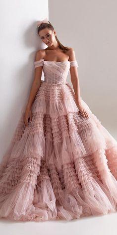 42 Off The Shoulder Wedding Dresses To See ❤  off the shoulder wedding dresses ball gown strapless blush pink millanova #weddingforward #wedding #bride