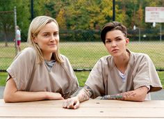 Piper (Taylor Schilling) and Stella (Ruby Rose) on Orange Is the New Black.
