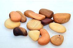 Wooden river pebbles Wooden river stones Mixed wood Stones
