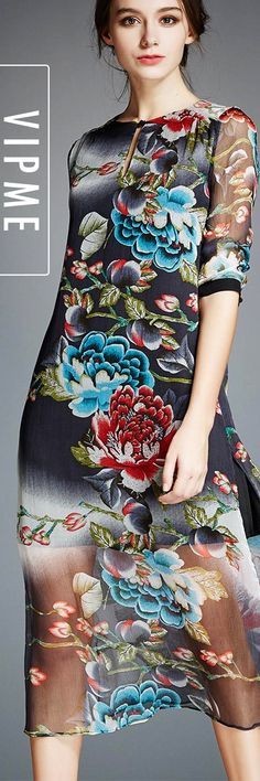 Elegant Mesh Silk Dress with Classy and Decent Asian Painting is Now Available! Be Outstanding and Exotic Amount the Crowd!