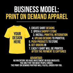 Business model: print on demand apparel Business Coach, New Business Ideas, Business Money, Business Inspiration, Business Planning, Business Marketing, Business Tips, Online Business, Investment Firms