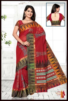 Dark Red color Kanchi cotton handloom Saree with green & yellow border, block printed across body and border. #silksaree #Kanchipuramsarees @ http://www.saridhoti.com