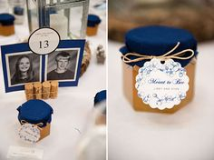 Deep Blue Accents for the Wedding Favors and Table Decor at the Wedding Reception