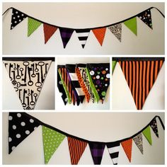 Whimsical Halloween Fabric Pennant Banner     www.sweetoctobershop.etsy.com