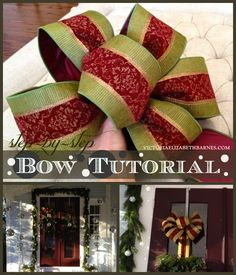 Step five – wrap your loops with string or floral wire. You want to fasten the center tightly! Don't forget to leave enough string to fasten the bow to the wreath, gift, mantel, bannister. wherever you're putting it! Christmas Bows, All Things Christmas, Christmas Holidays, Christmas Decorations, Holiday Decorating, Christmas Ideas, Christmas Porch, Funny Christmas, Homemade Christmas