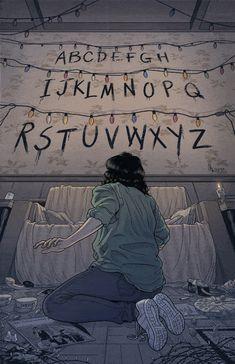 'Stranger Things (RUN)' Poster by -lumossolem- illustrations Stranger Things Tumblr, Stranger Things Netflix, Stranger Things Lights, Series Movies, Tv Series, Film Manga, Illustrator, Geeks, Tv Shows