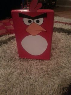 Angry Birds Valentine box. Shoe box lid is connected and opens to put goodies in.
