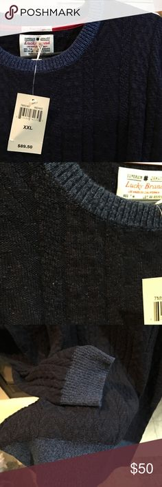"""Lucky Brand boyfriend sweater New with tags. Gorgeous! Handcrafted. True indigo. 100% cotton. Stretchy. Mid weight. Perfect for any jeans or to wear long with leggings. Versatile. Must have basic. Pics don't show true beauty. 30"""" long. Lucky Brand Sweaters"""