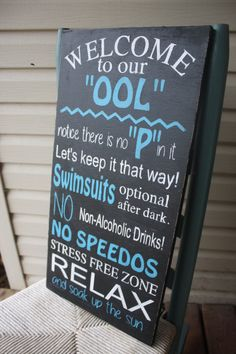 Pool Sign pool rules Wooden wall art Hand Painted by MamaSaysSigns