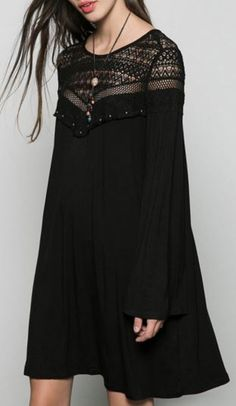 Black dress - Women Dress Casual Long Bell Sleeve Lace Patchwork Dress Mini Dress O Neck Vestidos – Black dress Black Long Sleeve Dress, Bell Sleeve Dress, Bell Sleeves, Dress Skirt, Lace Dress, Chiffon Dress, Black Dress Outfits, Dress Black, Patchwork Dress