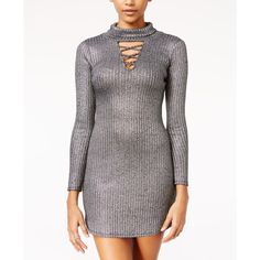 Material Girl Juniors' Metallic Lattice-Trim Bodycon Dress, ($37) ❤ liked on Polyvore featuring dresses, silver combo, material girl dresses, cut out party dresses, going out dresses, party dresses and holiday party dresses