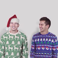Josh Dun and Tyler Joseph in Christmas sweaters.  Twenty one pilots skeleton clique.  Stay street. Stay alive.