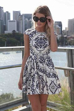 PAISLEY PRINT DRESS , DRESSES, TOPS, BOTTOMS, JACKETS & JUMPERS, ACCESSORIES, SALE, PRE ORDER, NEW ARRIVALS, PLAYSUIT, COLOUR,,Blue,White,Pr...